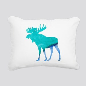 Turquoise and Blue Moose Rectangular Canvas Pillow