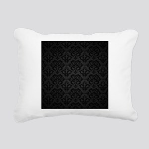 Elegant Black Rectangular Canvas Pillow