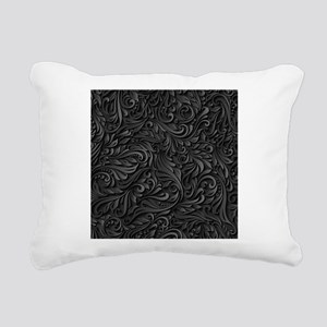 Black Flourish Rectangular Canvas Pillow