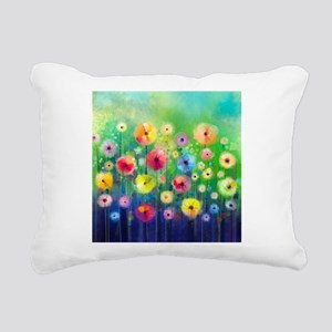 Watercolor Flowers Rectangular Canvas Pillow