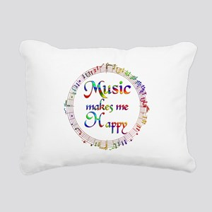Music makes me Happy Rectangular Canvas Pillow
