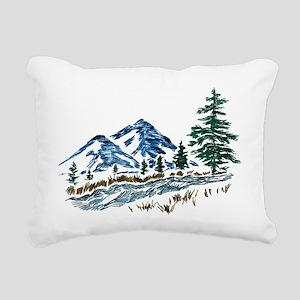 Sketch Mountain Scene Rectangular Canvas Pillow
