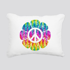 Colorful Peace Flower Rectangular Canvas Pillow