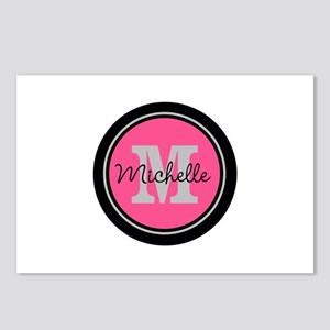 Pink | Black Name Initial Postcards (Package of 8)