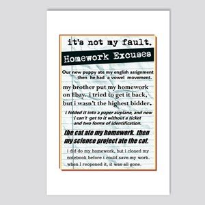 Homework Excuses Postcards (Package of 8)