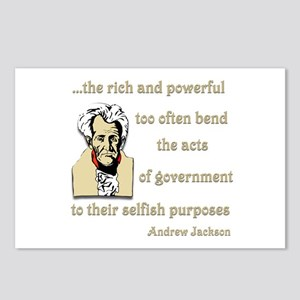 Andrew Jackson on the rich and powerful Postcards