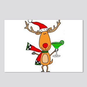 Funny Reindeer Drinking M Postcards (Package of 8)