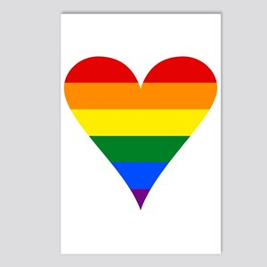 Gay Pride Flag Funky Heart Postcards (Package of 8