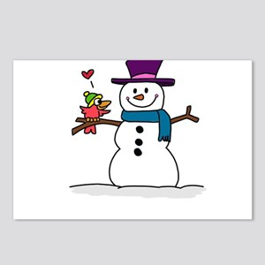 Snowman bird love christm Postcards (Package of 8)