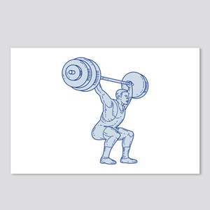 Weightlifter Lifting Barbell Mono Line Postcards (