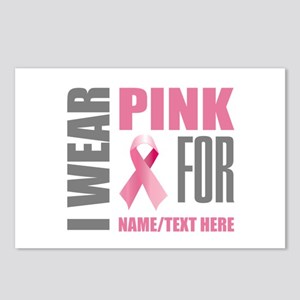 Pink Awareness Ribbon Cus Postcards (Package of 8)