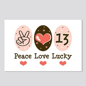 Peace Love Lucky 13 Postcards (Package of 8)