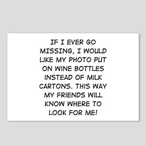 Wine Bottle Missing Postcards (Package of 8)