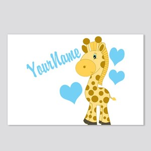 Personalizable Blue Baby Giraffe Postcards (Packag