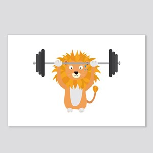 Weight lifting lion Postcards (Package of 8)