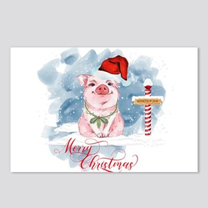 Merry Christmas Pig North Postcards (Package of 8)