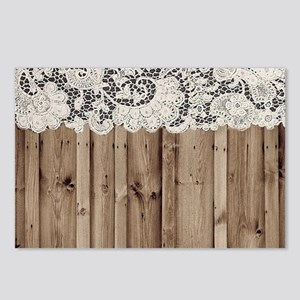 shabby chic lace barn woo Postcards (Package of 8)