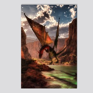 Fantasy dragon in the mountains Postcards (Package