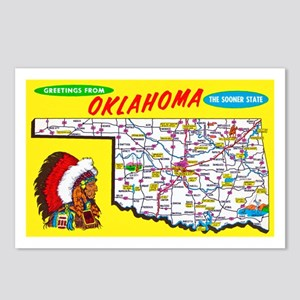 Oklahoma Map Greetings Postcards (Package of 8)
