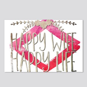 happy wife happy life Postcards (Package of 8)