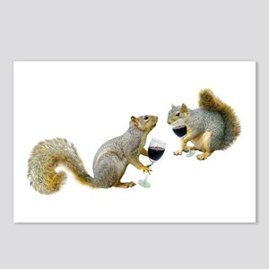 Squirrels Drinking Wine Postcards (Package of 8)