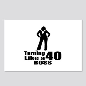 Turning 40 Like A Boss Bi Postcards (Package of 8)
