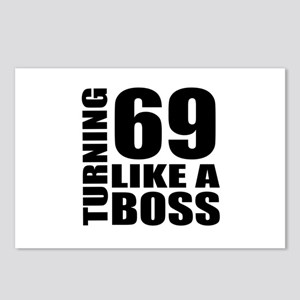 Turning 69 Like A Boss Bi Postcards (Package of 8)