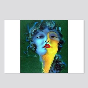 Flapper Art Deco Woman on Green Roaring 20s Postca