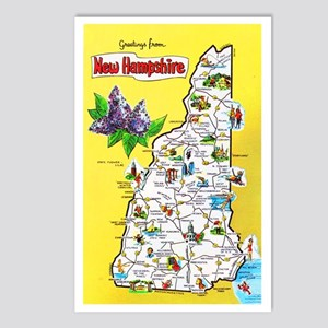 New Hampshire Map Greetings Postcards (Package of