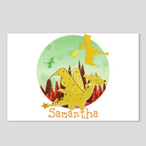 Cute Dragon with custom Name Postcards (Package of