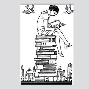 Reading Girl atop books Postcards (Package of 8)
