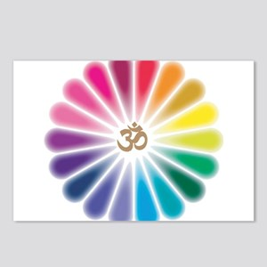Om Rainbow Flower Postcards (Package of 8)
