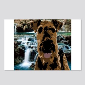 Dark Vector Art Airedale Postcards (Package of 8)