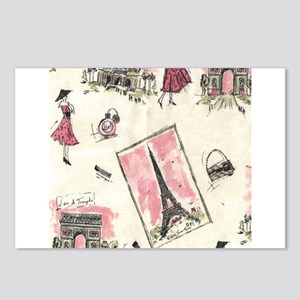 Vintage Paris Pink Postcards (Package of 8)