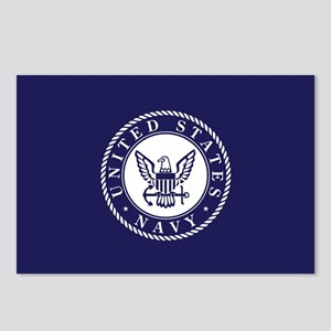 US Navy Emblem Blue White Postcards (Package of 8)