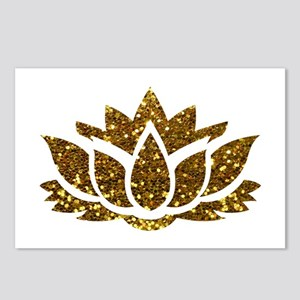 Gold Glitter Lotus Postcards (Package of 8)