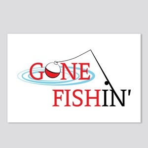 Gone fishing bobber and fishing pole Postcards (Pa