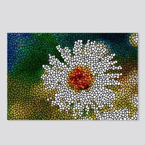 Stained Glass White Flowe Postcards (Package of 8)