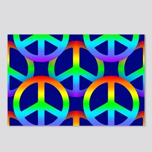 Rainbow Peace Sign Patter Postcards (Package of 8)