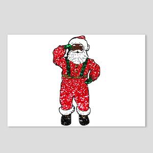 glitter black santa claus Postcards (Package of 8)