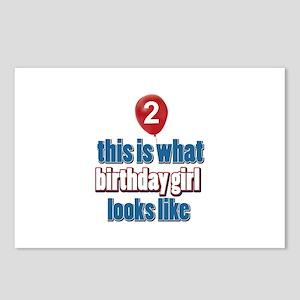 2 year old birthday girl designs Postcards (Packag