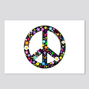 Hippie Flowery Peace Sign Postcards (Package of 8)