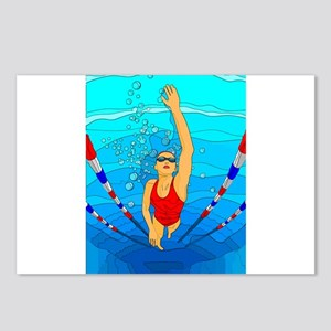 Woman swimming Postcards (Package of 8)