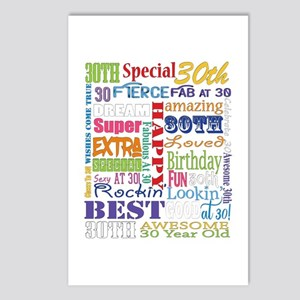 30th Birthday Typography Postcards (Package of 8)