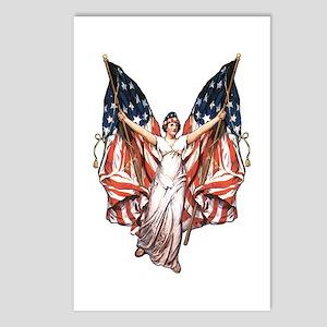 Vintage American Flag Art Postcards (Package of 8)