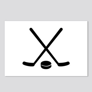 Hockey sticks puck Postcards (Package of 8)