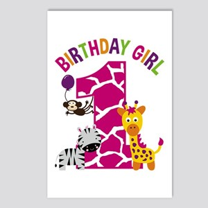 Girl Jungle 1st Birthday Postcards (Package of 8)