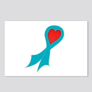 Teal Ribbon with Heart Postcards (Package of 8)
