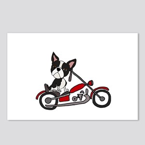 Boston Terrier on Motorcy Postcards (Package of 8)