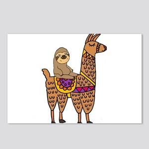 Cute Sloth Riding Llama Postcards (Package of 8)